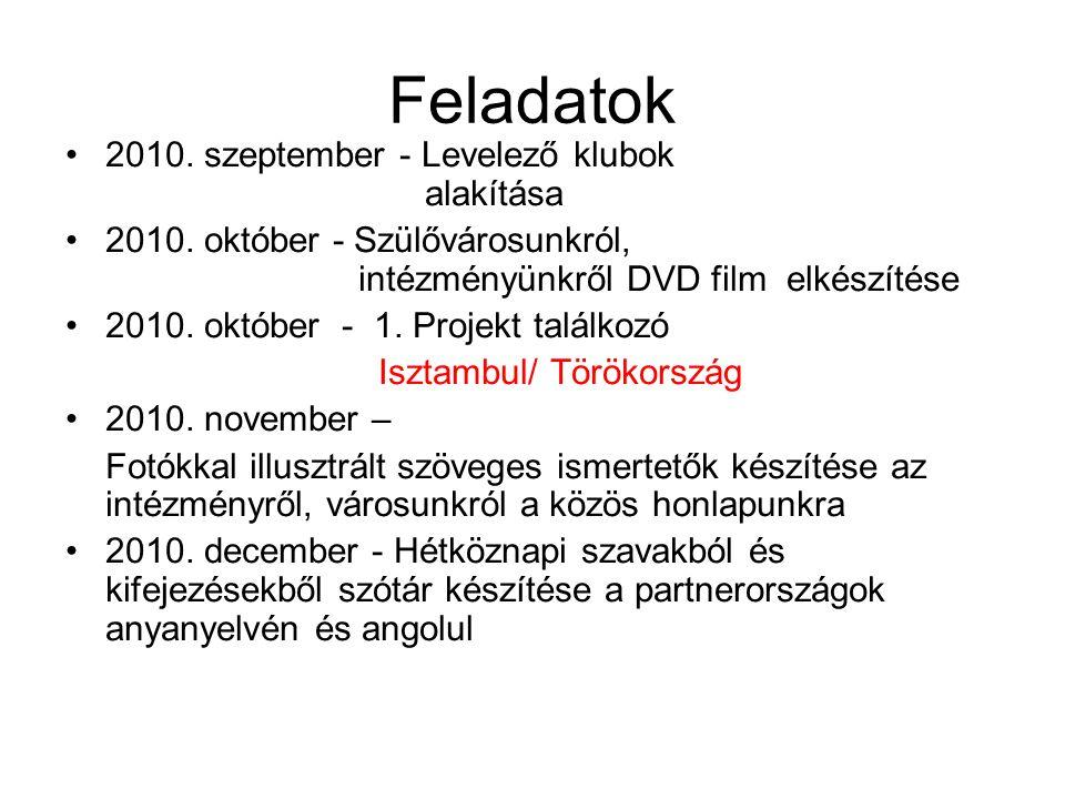 Feladatok 2010. szeptember - Levelező klubok alakítása 2010.