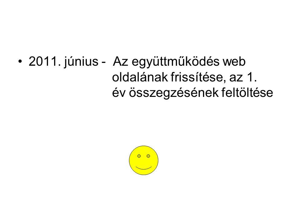 2011. június - Az együttműködés web oldalának frissítése, az 1. év összegzésének feltöltése