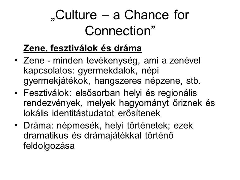 """""""Culture – a Chance for Connection Zene, fesztiválok és dráma Zene - minden tevékenység, ami a zenével kapcsolatos: gyermekdalok, népi gyermekjátékok, hangszeres népzene, stb."""
