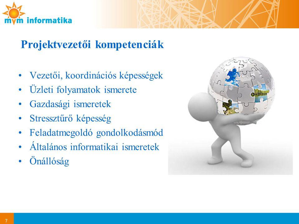 7 Projektvezetői kompetenciák Vezetői, koordinációs képességek Üzleti folyamatok ismerete Gazdasági ismeretek Stressztűrő képesség Feladatmegoldó gond