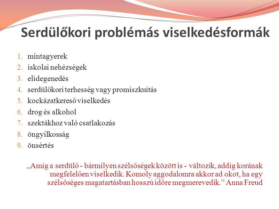 Serdülőkori problémás viselkedésformák 1. mintagyerek 2. iskolai nehézségek 3. elidegenedés 4. serdülőkori terhesség vagy promiszkuitás 5. kockázatker