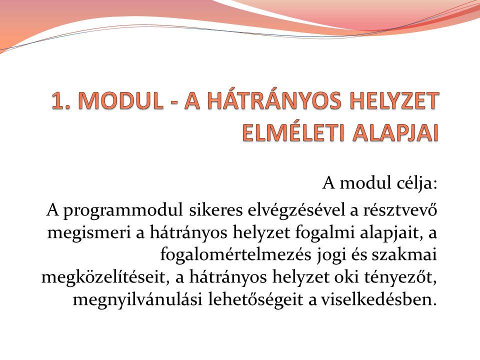 A modul célja: A programmodul sikeres elvégzésével a résztvevő megismeri a hátrányos helyzet fogalmi alapjait, a fogalomértelmezés jogi és szakmai megközelítéseit, a hátrányos helyzet oki tényezőt, megnyilvánulási lehetőségeit a viselkedésben.