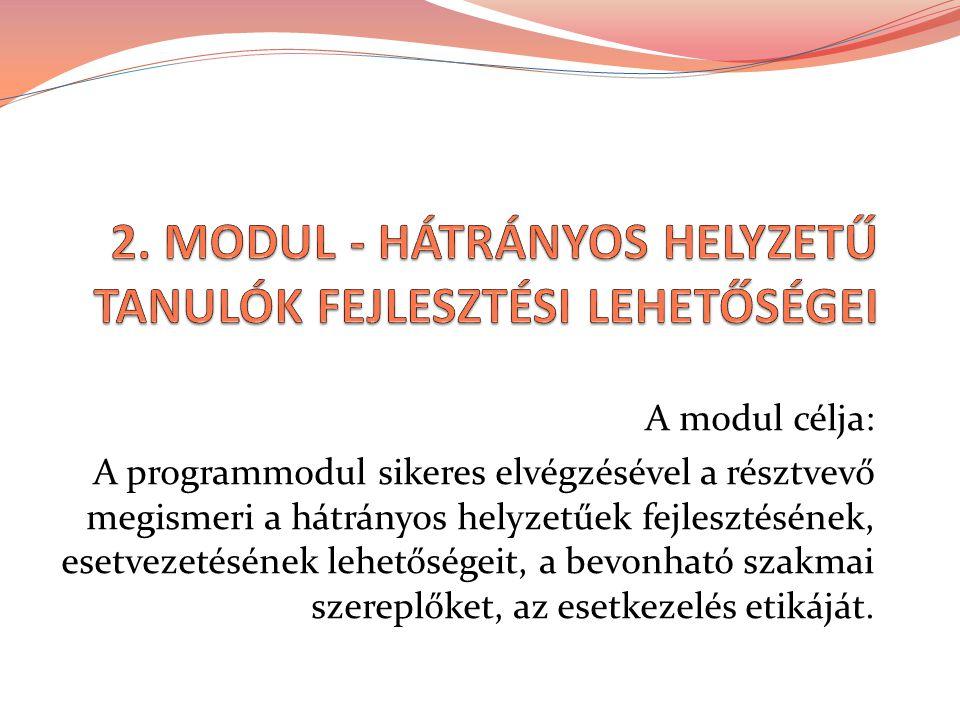 A modul célja: A programmodul sikeres elvégzésével a résztvevő megismeri a hátrányos helyzetűek fejlesztésének, esetvezetésének lehetőségeit, a bevonh