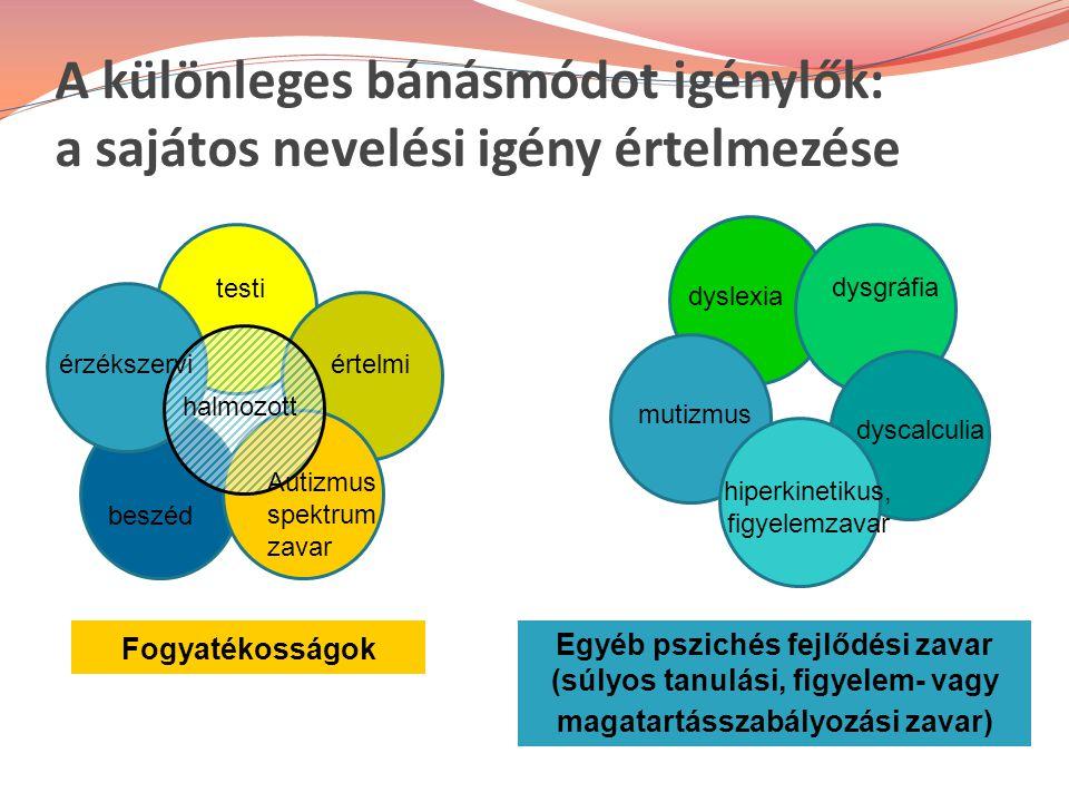 A különleges bánásmódot igénylők: a sajátos nevelési igény értelmezése érzékszervi testi értelmi Autizmus spektrum zavar beszéd halmozott Fogyatékosságok Egyéb pszichés fejlődési zavar (súlyos tanulási, figyelem- vagy magatartásszabályozási zavar) dyslexia dysgráfia dyscalculia mutizmus hiperkinetikus, figyelemzavar
