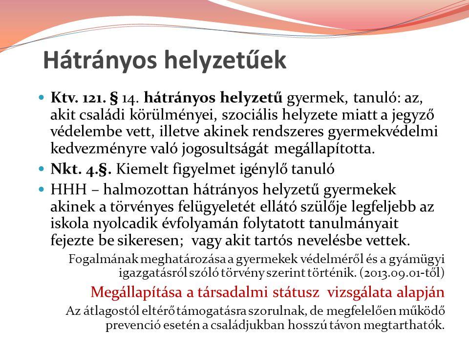 Hátrányos helyzetűek Ktv.121. § 14.