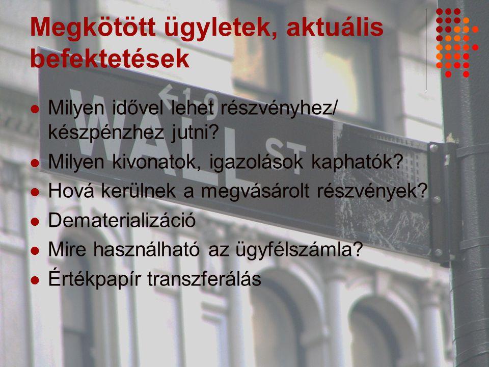 Hivatkozásjegyzék Tőzsde ABC www.bet.hu BÉT elemzések Chikán Attila: Vállalatgazdaságtan 2008 www.viccesviccek.hu