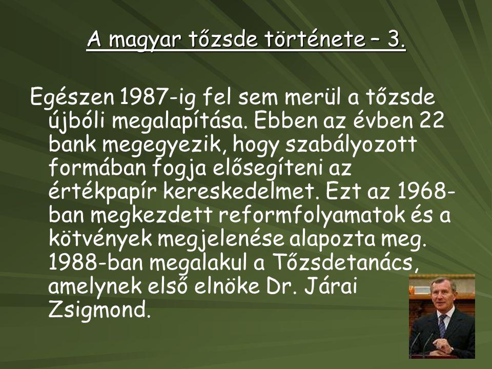 A magyar tőzsde története – 3. Egészen 1987-ig fel sem merül a tőzsde újbóli megalapítása. Ebben az évben 22 bank megegyezik, hogy szabályozott formáb