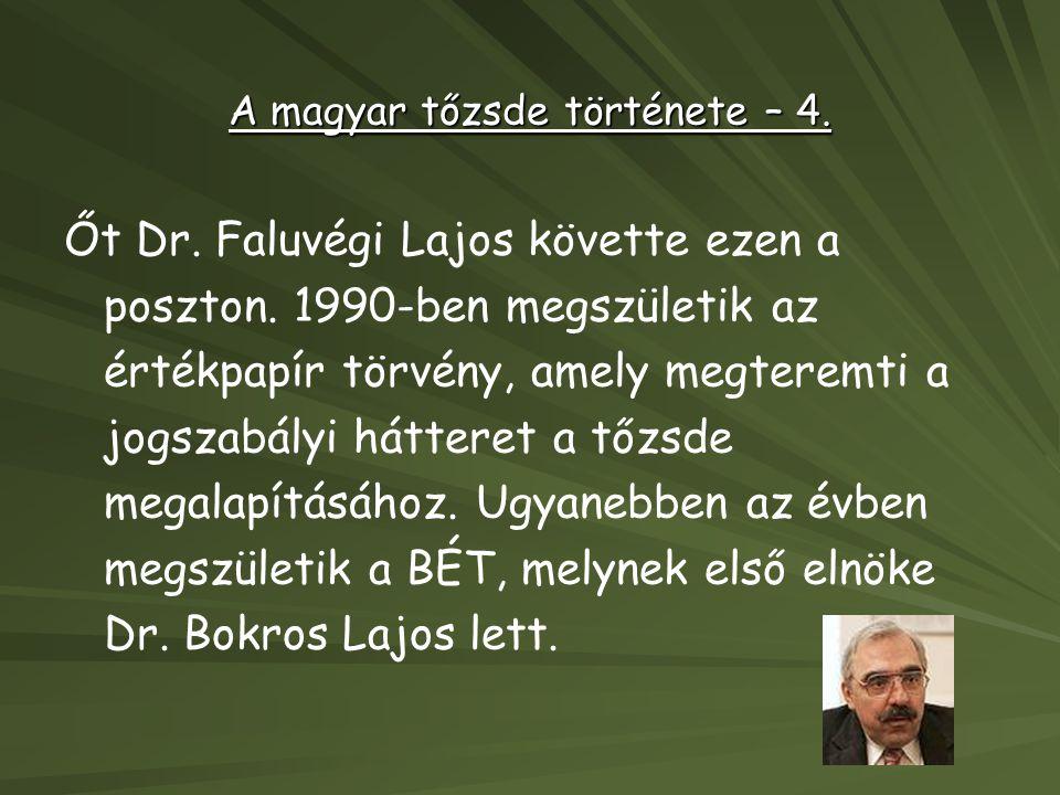 A magyar tőzsde története – 4. Őt Dr. Faluvégi Lajos követte ezen a poszton. 1990-ben megszületik az értékpapír törvény, amely megteremti a jogszabály