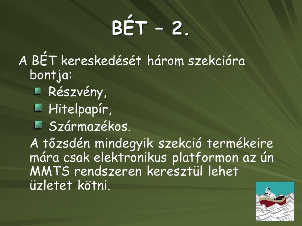 BÉT – 2. A BÉT kereskedését három szekcióra bontja: Részvény, Hitelpapír, Származékos. A tőzsdén mindegyik szekció termékeire mára csak elektronikus p