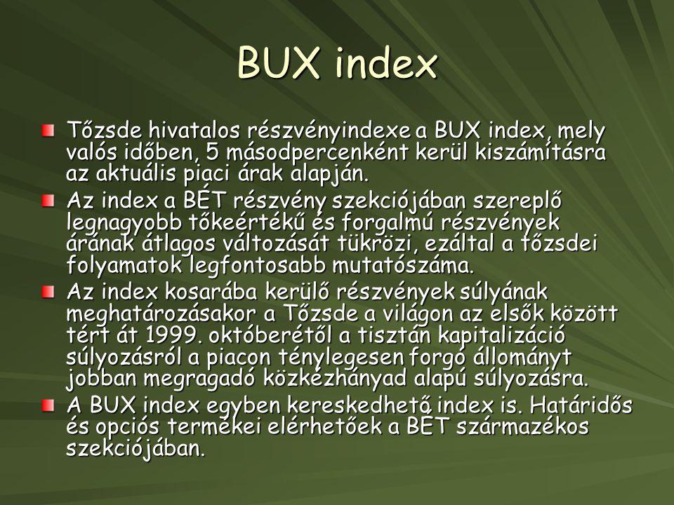 BUX index Tőzsde hivatalos részvényindexe a BUX index, mely valós időben, 5 másodpercenként kerül kiszámításra az aktuális piaci árak alapján. Az inde