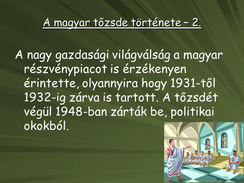 A magyar tőzsde története – 2. A nagy gazdasági világválság a magyar részvénypiacot is érzékenyen érintette, olyannyira hogy 1931-től 1932-ig zárva is