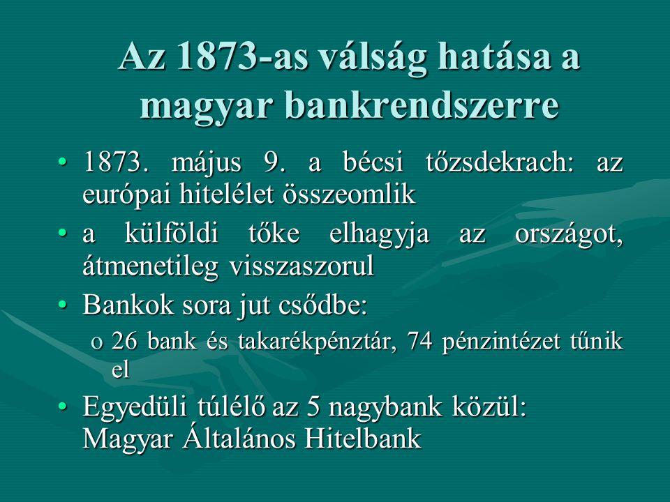Az 1873-as válság hatása a magyar bankrendszerre 1873. május 9. a bécsi tőzsdekrach: az európai hitelélet összeomlik1873. május 9. a bécsi tőzsdekrach