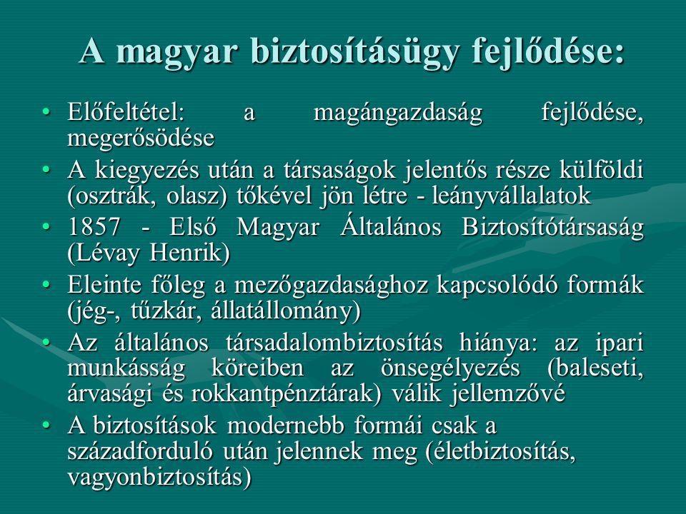 A magyar biztosításügy fejlődése: Előfeltétel: a magángazdaság fejlődése, megerősödéseElőfeltétel: a magángazdaság fejlődése, megerősödése A kiegyezés