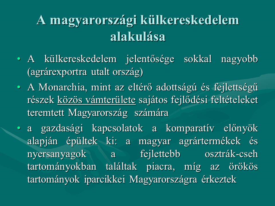 A magyarországi külkereskedelem alakulása A külkereskedelem jelentősége sokkal nagyobb (agrárexportra utalt ország)A külkereskedelem jelentősége sokka