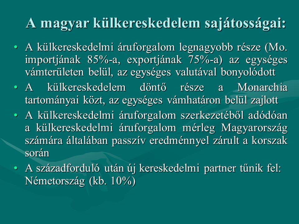 A magyar külkereskedelem sajátosságai: A külkereskedelmi áruforgalom legnagyobb része (Mo. importjának 85%-a, exportjának 75%-a) az egységes vámterüle