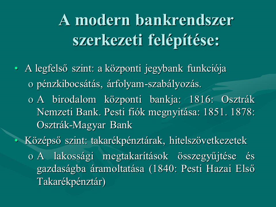 A modern bankrendszer szerkezeti felépítése: A legfelső szint: a központi jegybank funkciójaA legfelső szint: a központi jegybank funkciója opénzkiboc