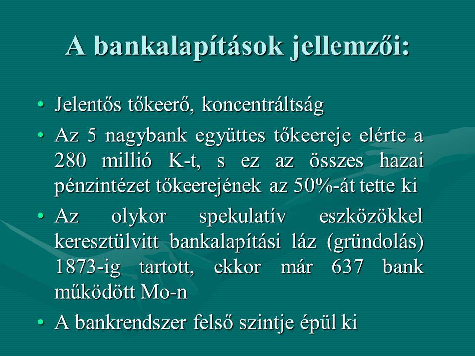 A bankalapítások jellemzői: Jelentős tőkeerő, koncentráltságJelentős tőkeerő, koncentráltság Az 5 nagybank együttes tőkeereje elérte a 280 millió K-t,