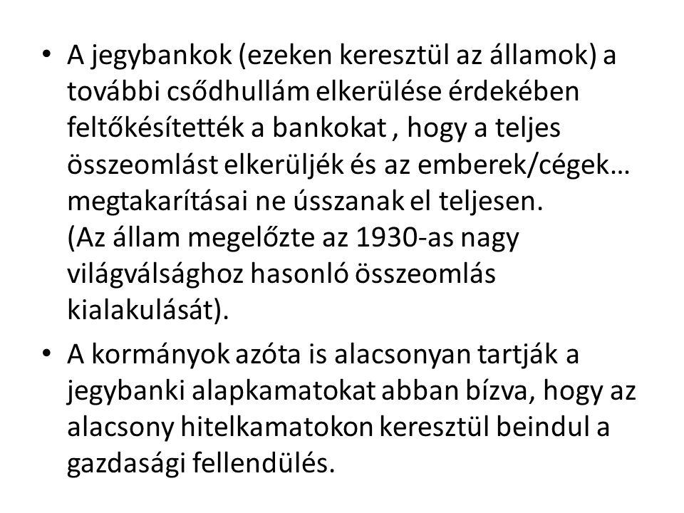 A jegybankok (ezeken keresztül az államok) a további csődhullám elkerülése érdekében feltőkésítették a bankokat, hogy a teljes összeomlást elkerüljék