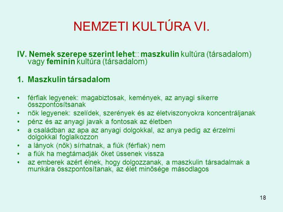 18 NEMZETI KULTÚRA VI. IV. Nemek szerepe szerint lehet:: maszkulin kultúra (társadalom) vagy feminin kultúra (társadalom) 1.Maszkulin társadalom férfi