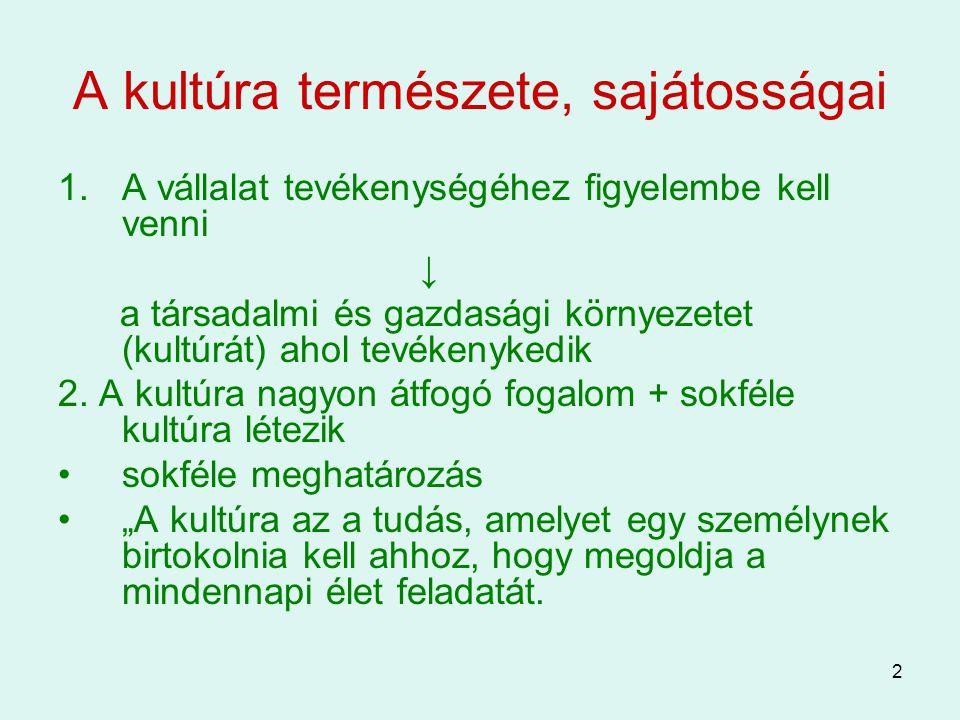 2 A kultúra természete, sajátosságai 1.A vállalat tevékenységéhez figyelembe kell venni ↓ a társadalmi és gazdasági környezetet (kultúrát) ahol tevéke