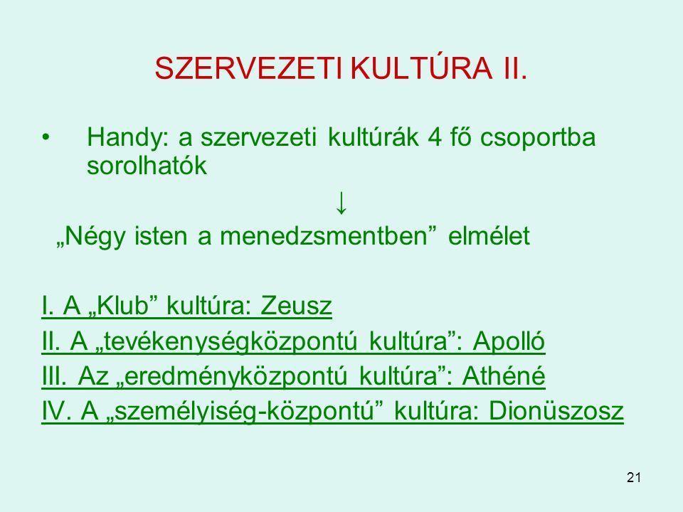 """21 SZERVEZETI KULTÚRA II. Handy: a szervezeti kultúrák 4 fő csoportba sorolhatók ↓ """"Négy isten a menedzsmentben"""" elmélet I. A """"Klub"""" kultúra: Zeusz II"""