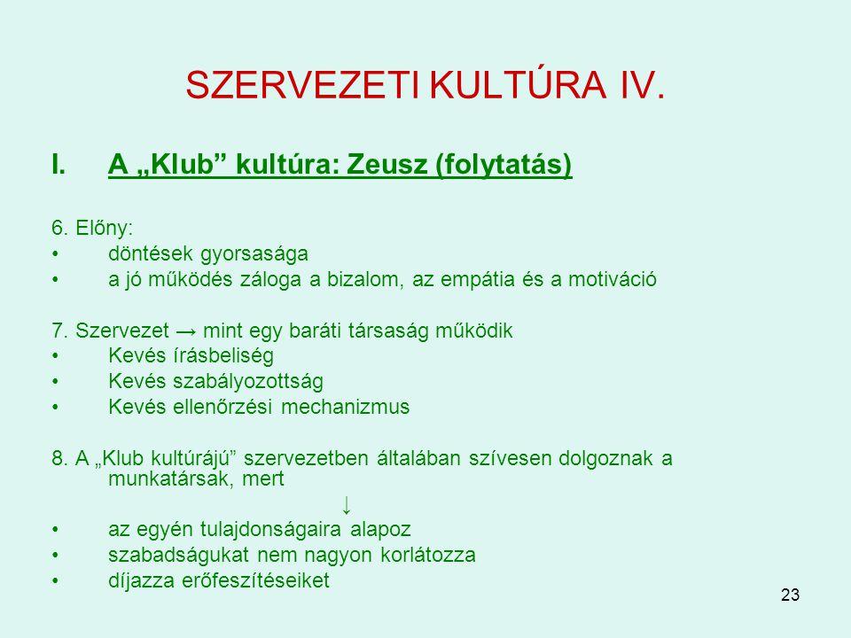 """23 SZERVEZETI KULTÚRA IV. I.A """"Klub"""" kultúra: Zeusz (folytatás) 6. Előny: döntések gyorsasága a jó működés záloga a bizalom, az empátia és a motiváció"""