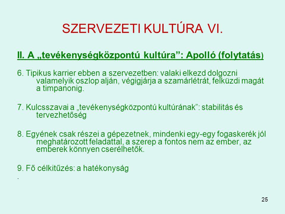 """25 SZERVEZETI KULTÚRA VI. II. A """"tevékenységközpontú kultúra"""": Apolló (folytatás ) 6. Tipikus karrier ebben a szervezetben: valaki elkezd dolgozni val"""