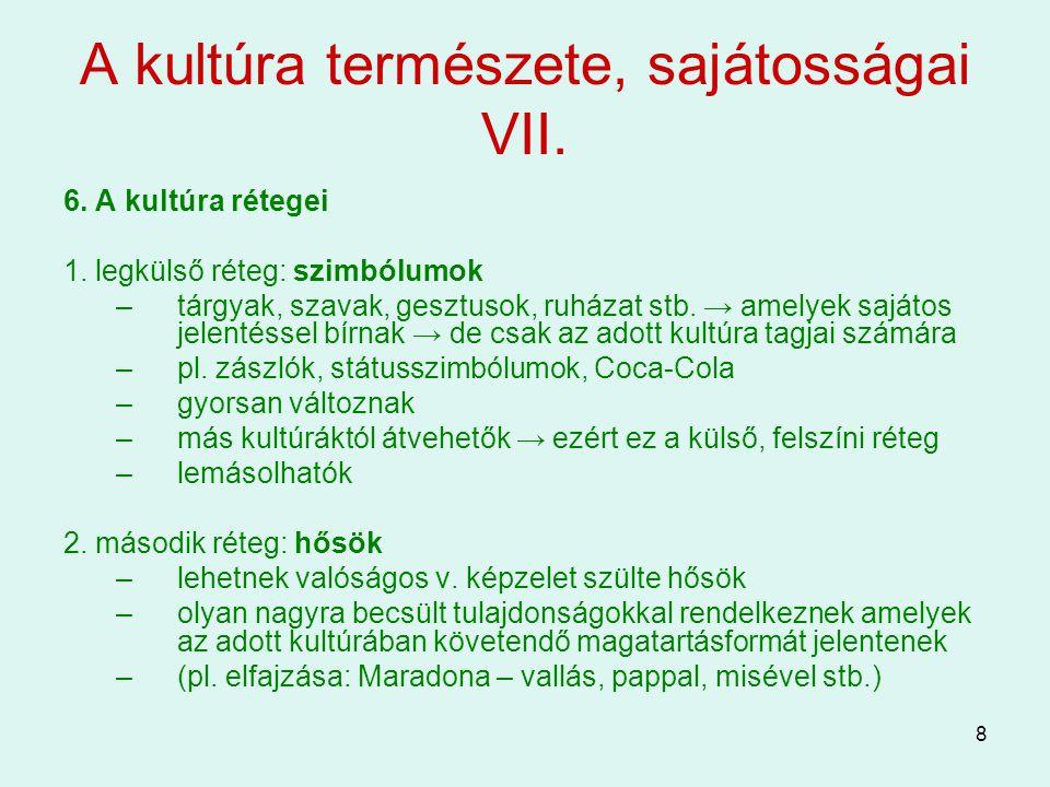 8 A kultúra természete, sajátosságai VII. 6. A kultúra rétegei 1. legkülső réteg: szimbólumok –tárgyak, szavak, gesztusok, ruházat stb. → amelyek sajá