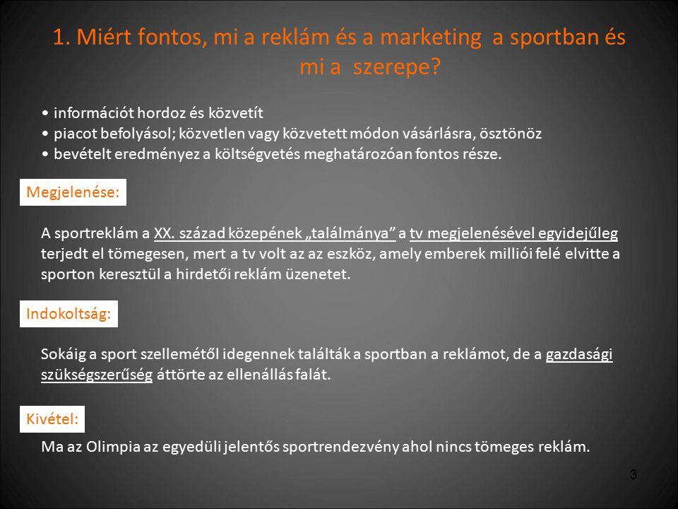4 2.Mi a sportvállalkozás terméke és ebben hogyan jelenik meg a reklám üzenet.