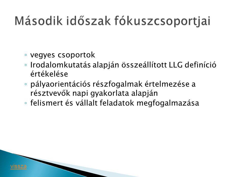 ◦ vegyes csoportok ◦ Irodalomkutatás alapján összeállított LLG definíció értékelése ◦ pályaorientációs részfogalmak értelmezése a résztvevők napi gyak