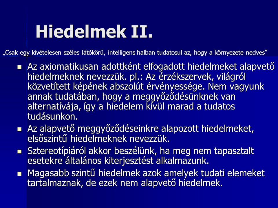 Hiedelmek II. Az axiomatikusan adottként elfogadott hiedelmeket alapvető hiedelmeknek nevezzük. pl.: Az érzékszervek, világról közvetített képének abs