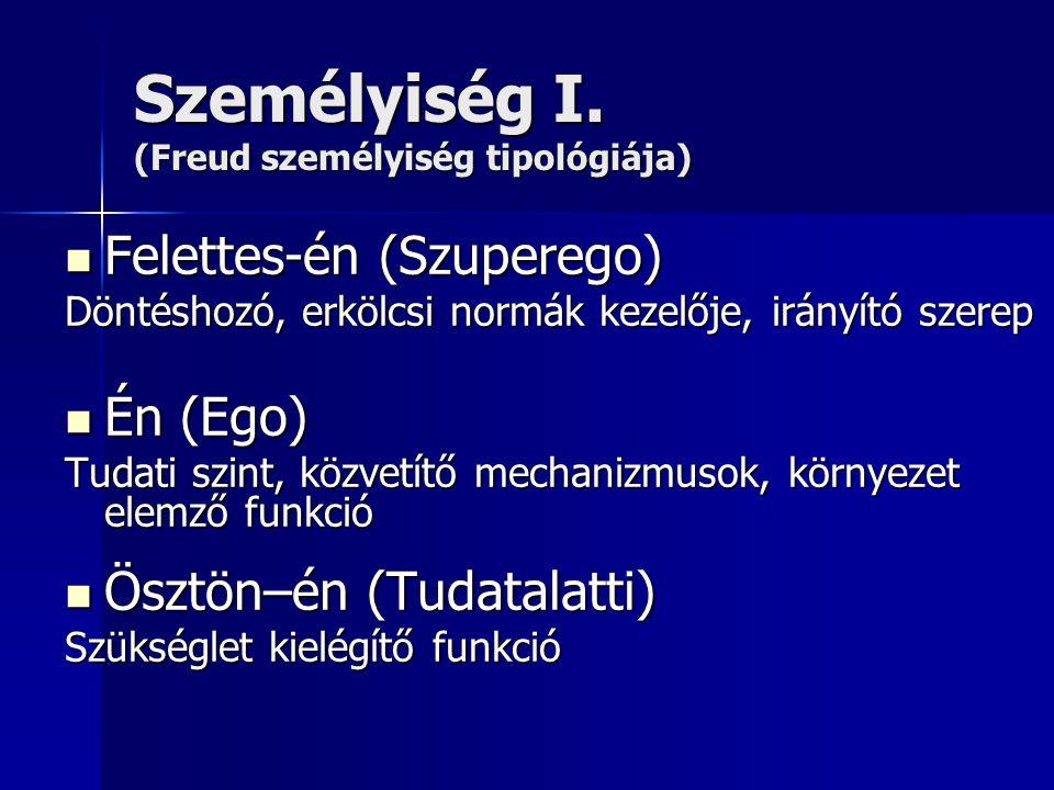Személyiség I. (Freud személyiség tipológiája) Felettes-én (Szuperego) Felettes-én (Szuperego) Döntéshozó, erkölcsi normák kezelője, irányító szerep É