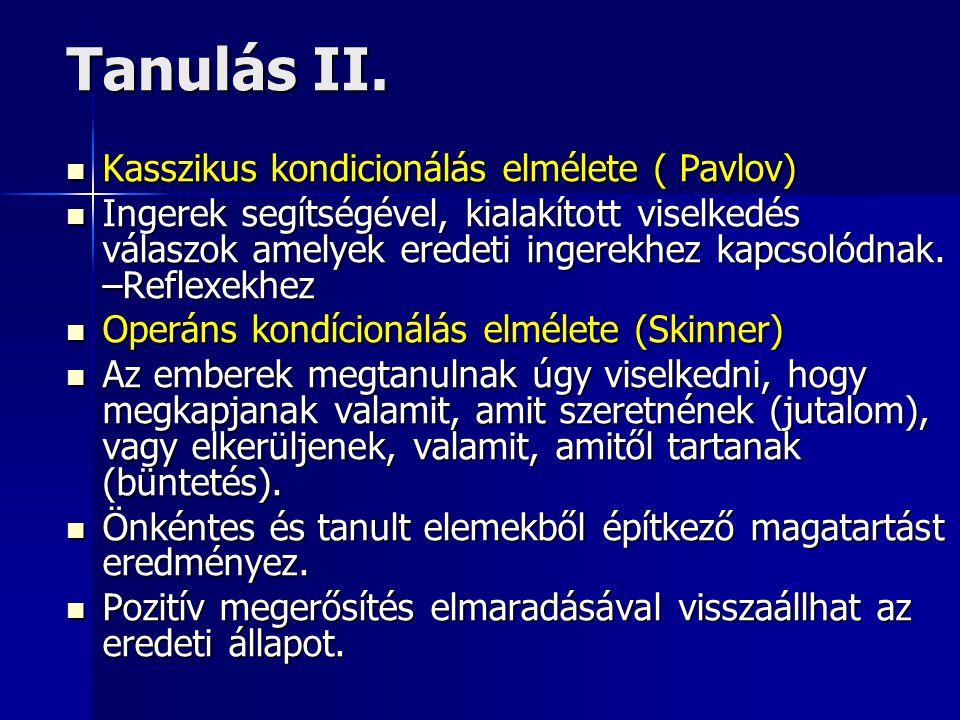 Tanulás II. Kasszikus kondicionálás elmélete ( Pavlov) Kasszikus kondicionálás elmélete ( Pavlov) Ingerek segítségével, kialakított viselkedés válaszo