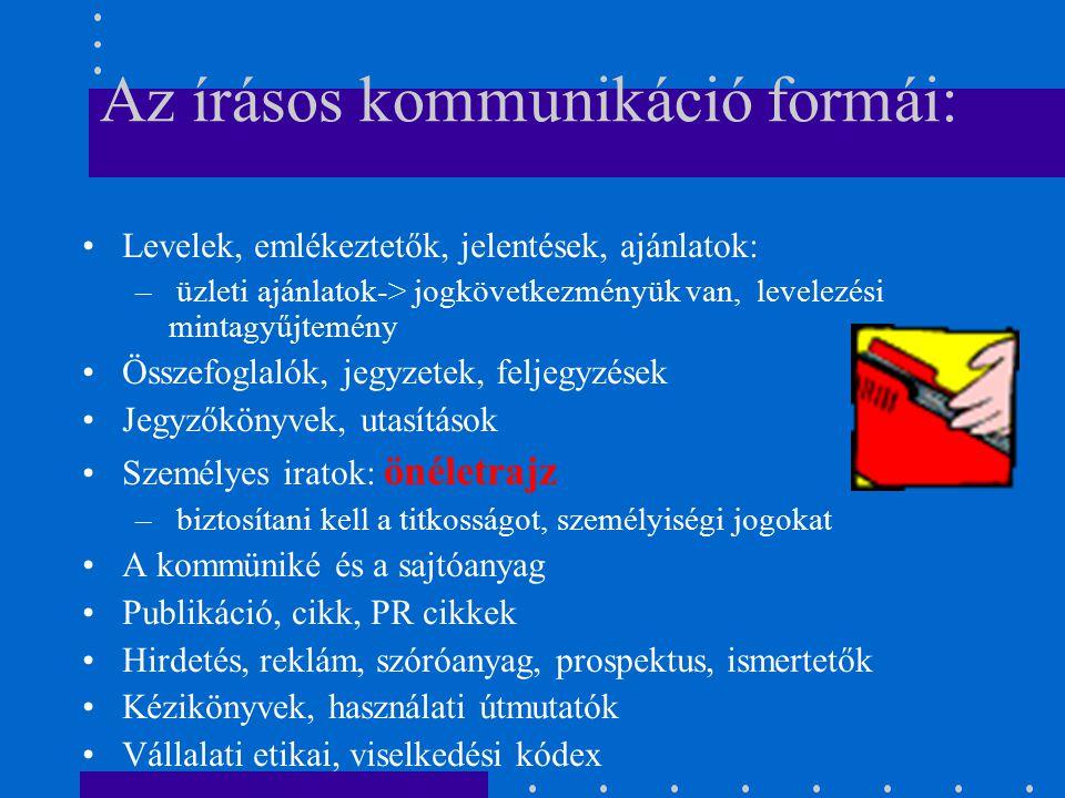 Az írásos kommunikáció formái: Levelek, emlékeztetők, jelentések, ajánlatok: – üzleti ajánlatok-> jogkövetkezményük van, levelezési mintagyűjtemény Összefoglalók, jegyzetek, feljegyzések Jegyzőkönyvek, utasítások Személyes iratok: önéletrajz – biztosítani kell a titkosságot, személyiségi jogokat A kommüniké és a sajtóanyag Publikáció, cikk, PR cikkek Hirdetés, reklám, szóróanyag, prospektus, ismertetők Kézikönyvek, használati útmutatók Vállalati etikai, viselkedési kódex