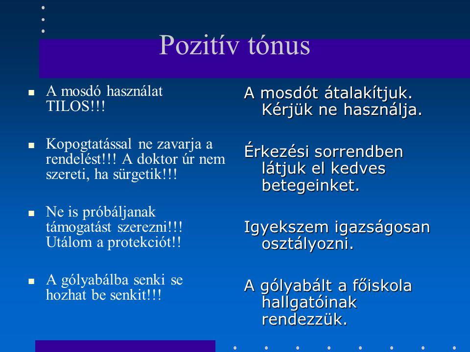 Pozitív tónus A mosdó használat TILOS!!.Kopogtatással ne zavarja a rendelést!!.
