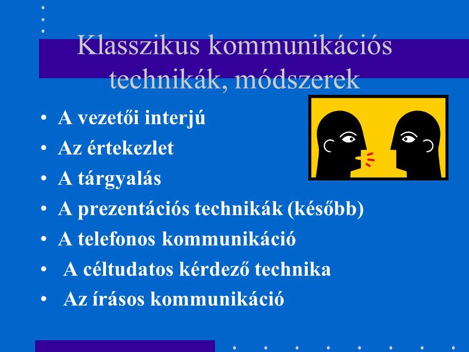 A vezetői interjú Az értekezlet A tárgyalás A prezentációs technikák (később) A telefonos kommunikáció A céltudatos kérdező technika Az írásos kommunikáció Klasszikus kommunikációs technikák, módszerek