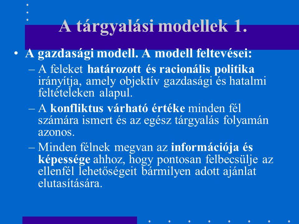 A tárgyalási modellek 1.A gazdasági modell.