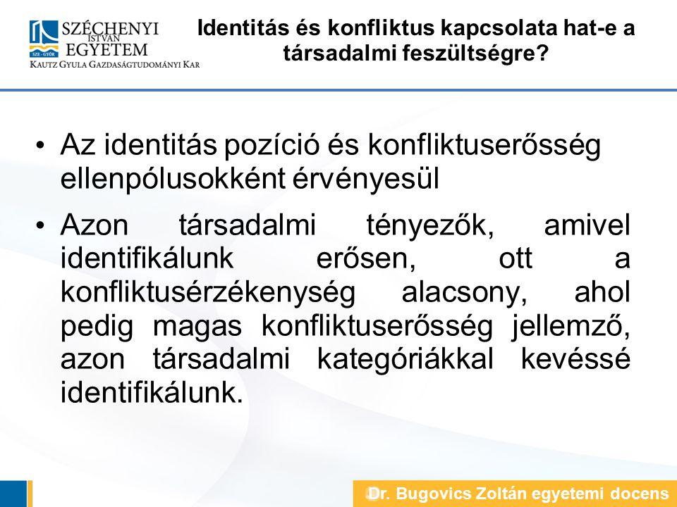 Identitás és konfliktus kapcsolata hat-e a társadalmi feszültségre? Az identitás pozíció és konfliktuserősség ellenpólusokként érvényesül Azon társada