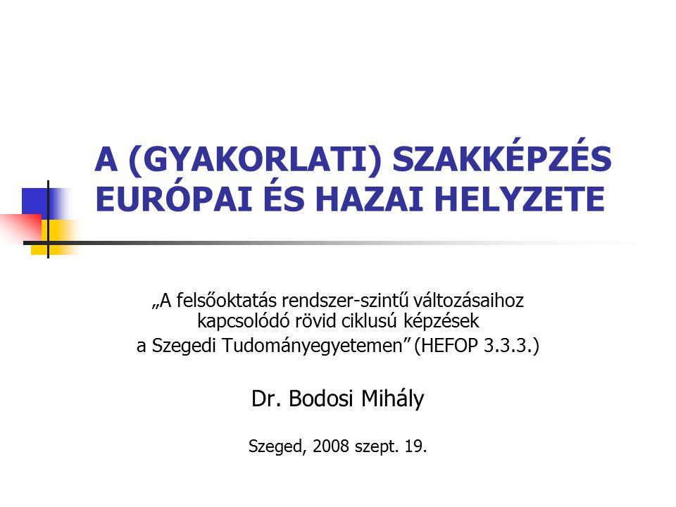 """A (GYAKORLATI) SZAKKÉPZÉS EURÓPAI ÉS HAZAI HELYZETE """"A felsőoktatás rendszer-szintű változásaihoz kapcsolódó rövid ciklusú képzések a Szegedi Tudományegyetemen (HEFOP 3.3.3.) Dr."""