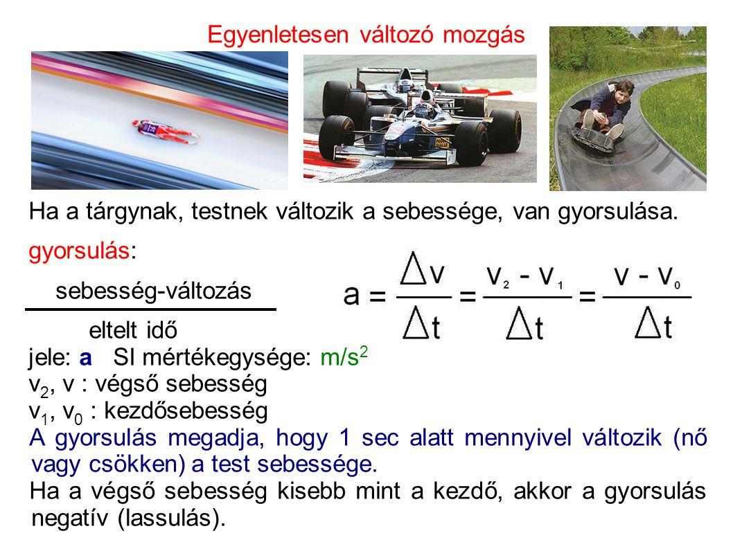 Egyenletesen változó mozgás Ha a tárgynak, testnek változik a sebessége, van gyorsulása. gyorsulás: sebesség-változás eltelt idő jele: a SI mértékegys