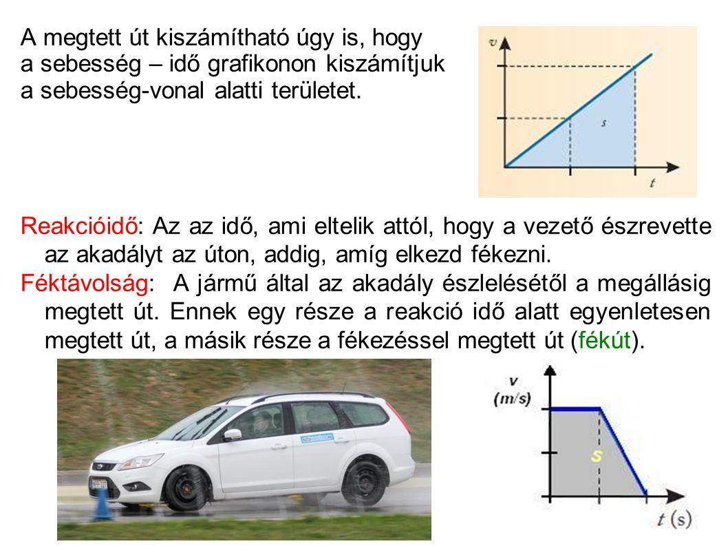 A megtett út kiszámítható úgy is, hogy a sebesség – idő grafikonon kiszámítjuk a sebesség-vonal alatti területet. Reakcióidő: Az az idő, ami eltelik a