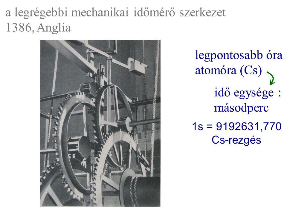a legrégebbi mechanikai időmérő szerkezet 1386, Anglia idő egysége : másodperc legpontosabb óra atomóra (Cs) 1s = 9192631,770 Cs-rezgés