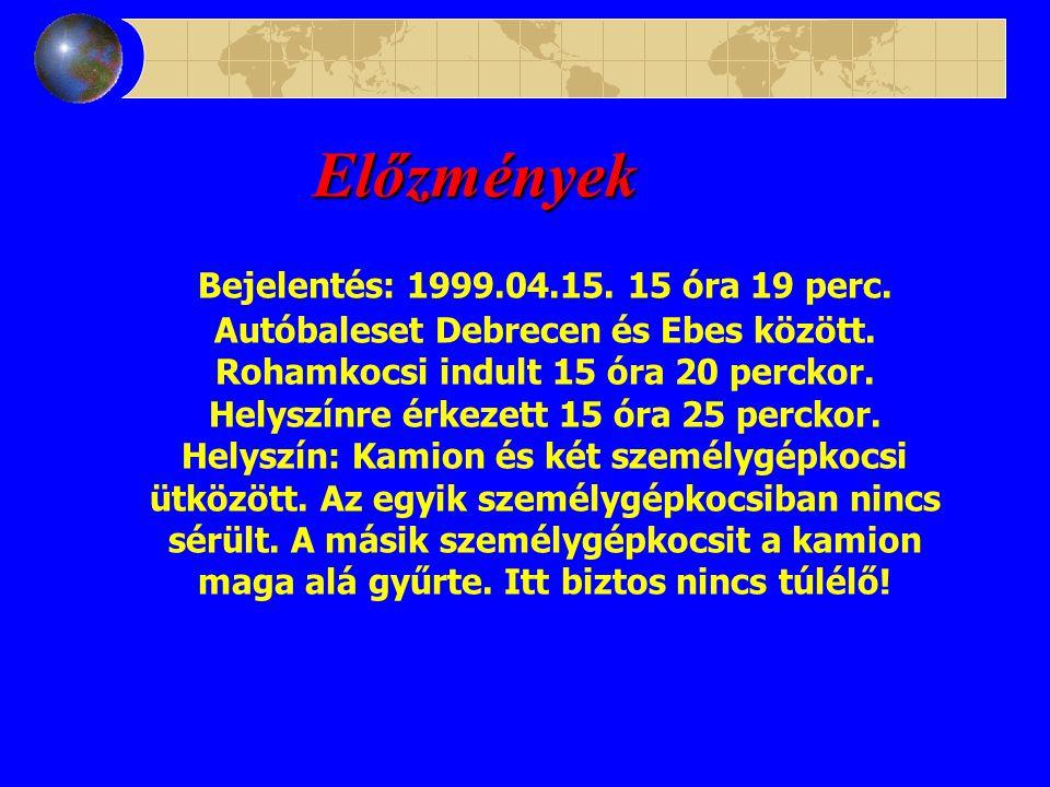 Előzmények Bejelentés: 1999.04.15.15 óra 19 perc.