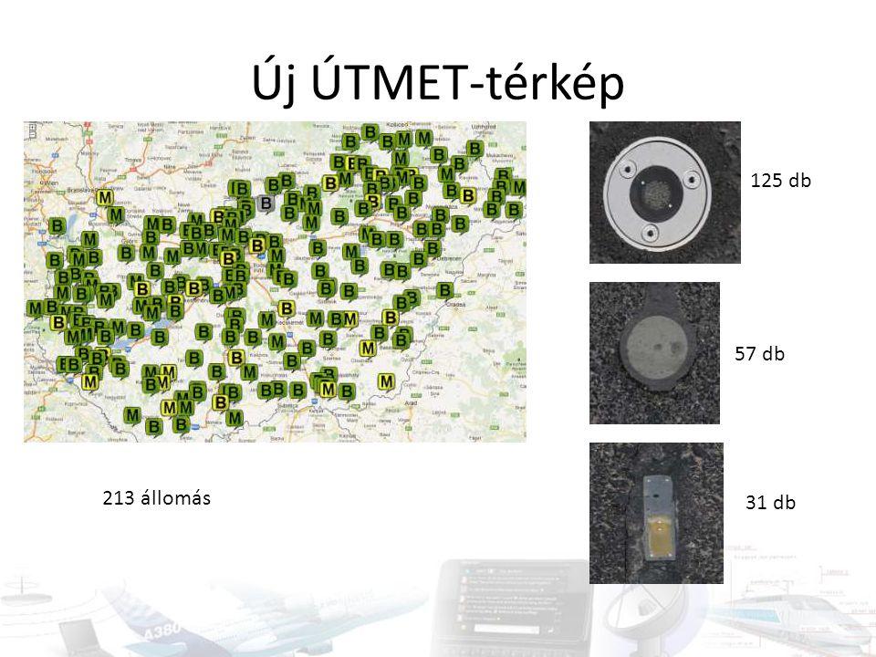 Új ÚTMET-térkép 213 állomás 125 db 57 db 31 db