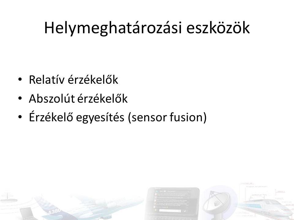 Relatív érzékelők Távolság-, pozíció- vagy irányváltozás detektálására Néhány csoport: – Elmozdulás-mérő – Kerékfordulatszám-mérő (odométer) – Giroszkóp – Gyorsulás-mérő