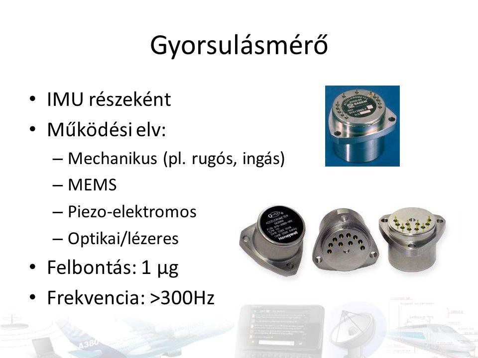 Gyorsulásmérő IMU részeként Működési elv: – Mechanikus (pl. rugós, ingás) – MEMS – Piezo-elektromos – Optikai/lézeres Felbontás: 1 µg Frekvencia: >300