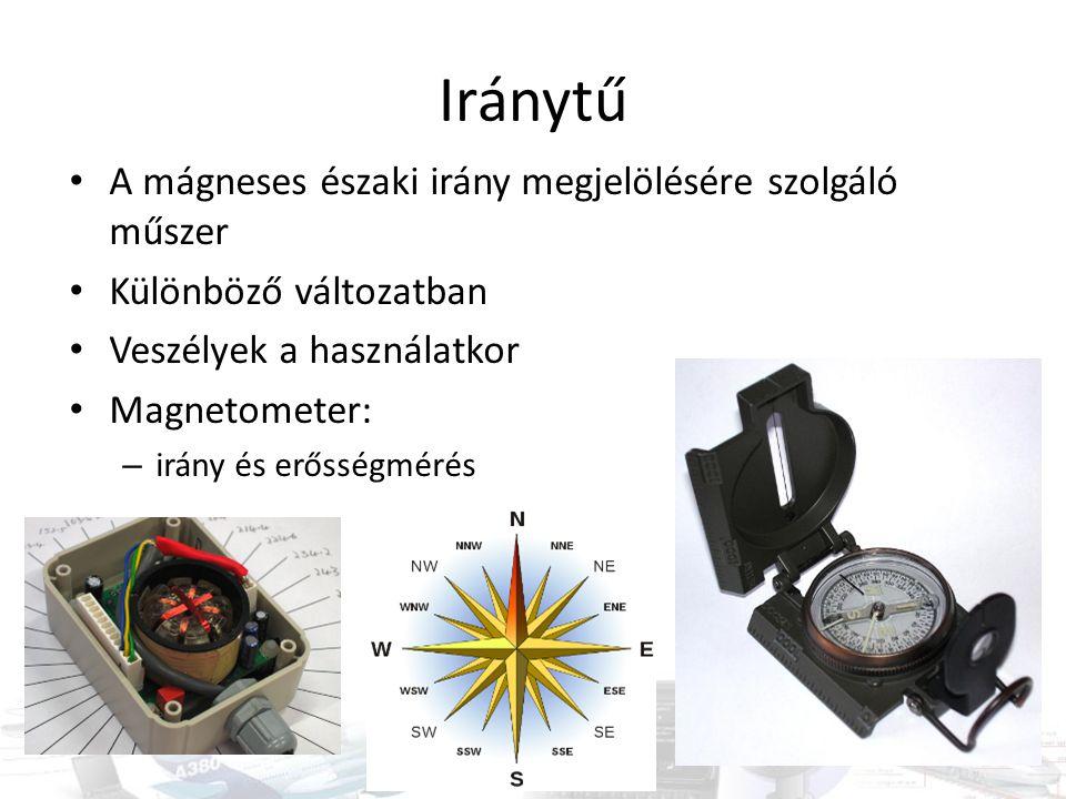 Iránytű A mágneses északi irány megjelölésére szolgáló műszer Különböző változatban Veszélyek a használatkor Magnetometer: – irány és erősségmérés