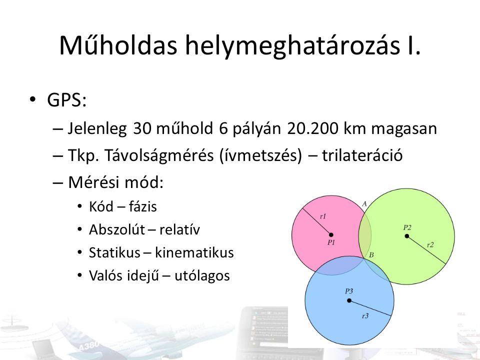 Pontosság Navigációs: absz., valós, kód, 10 m DGPS: diff, valós, kód, m Statikus: rel, utó, fázis, mm-cm Kinematikus: rel, utó, fázis, cm RTK: rel, valós, fázis, cm Pontossághígulás: HDOP, VDOP, TDOP…