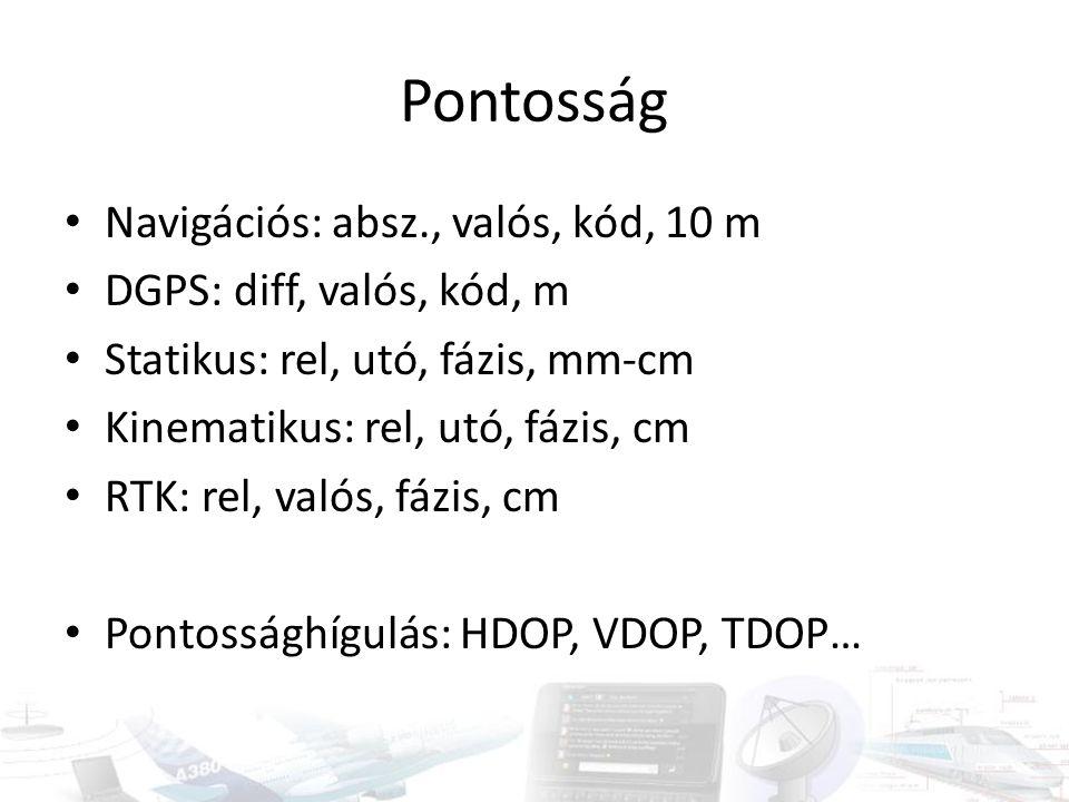 Pontosság Navigációs: absz., valós, kód, 10 m DGPS: diff, valós, kód, m Statikus: rel, utó, fázis, mm-cm Kinematikus: rel, utó, fázis, cm RTK: rel, va