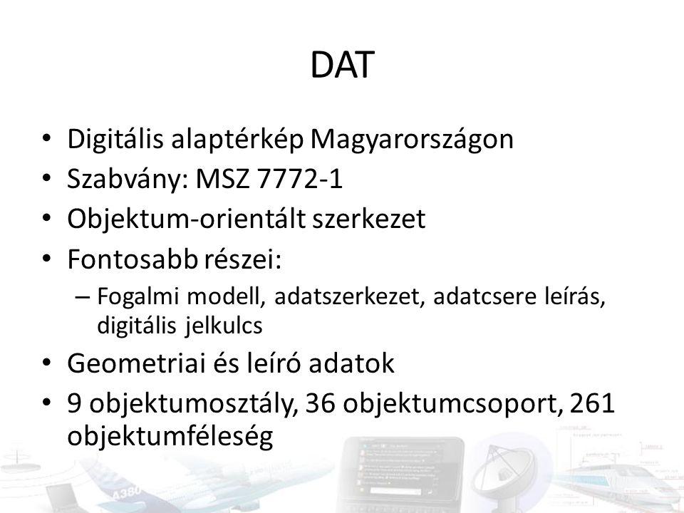 DAT Digitális alaptérkép Magyarországon Szabvány: MSZ 7772-1 Objektum-orientált szerkezet Fontosabb részei: – Fogalmi modell, adatszerkezet, adatcsere